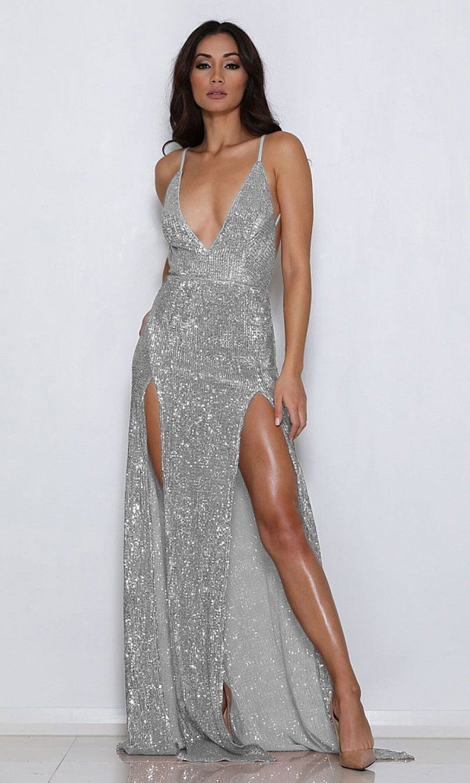 1daf7e8e04 Mystery Girl Silver Sequin Sleeveless Spaghetti Strap Plunge V Neck  Backless Double Slit Maxi Dress