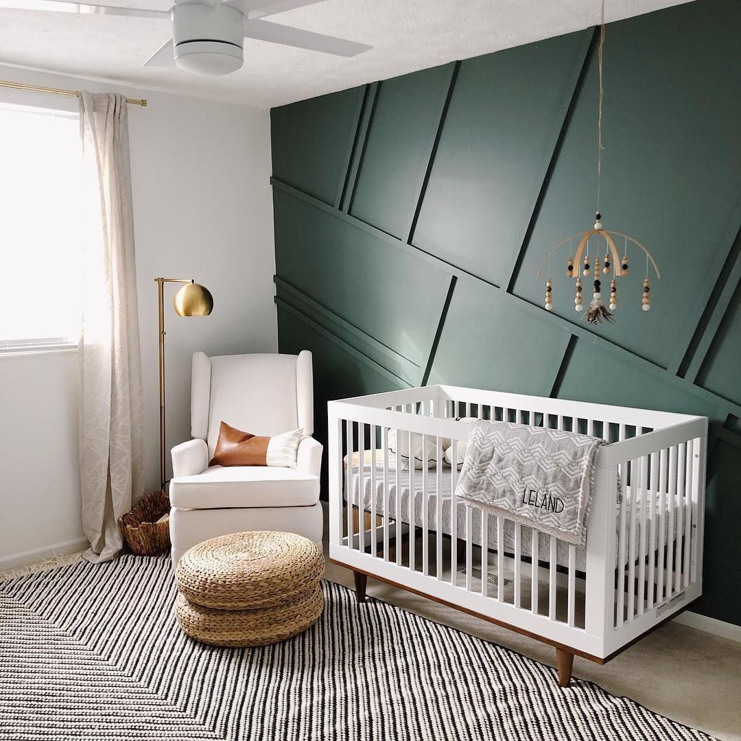 Green Accent Wall Boys Room: 21 Refreshingly Green Nurseries In 2020