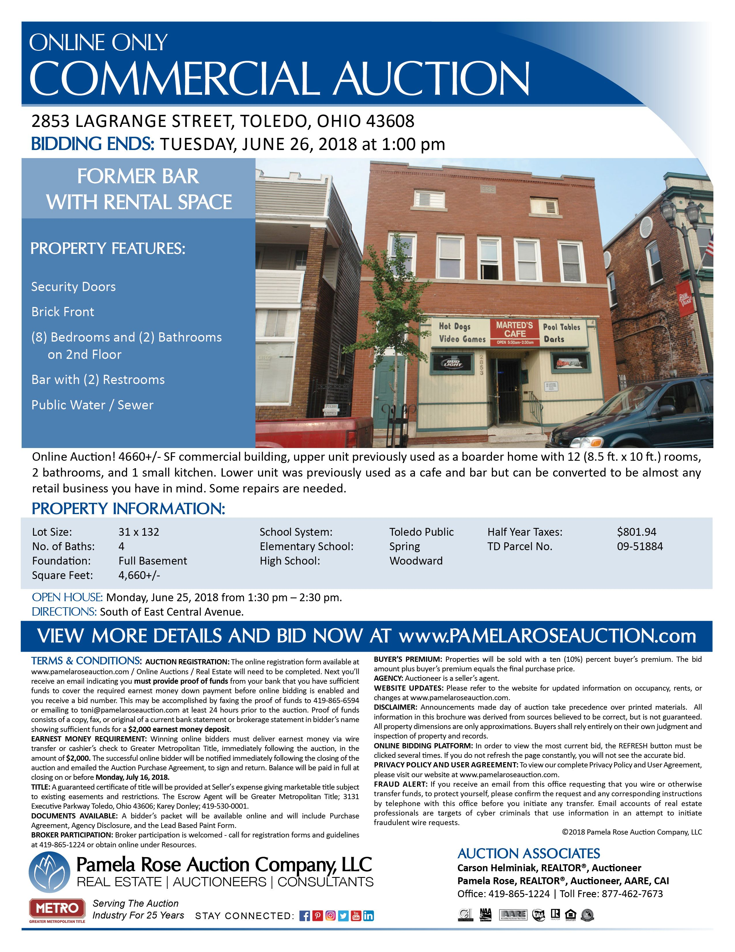 Former Bar With Rental Space Online Auction 2853 Lagrange Street Toledo Ohio 43608 Bidding Ends Tuesday Commercial Property Public Restroom Property
