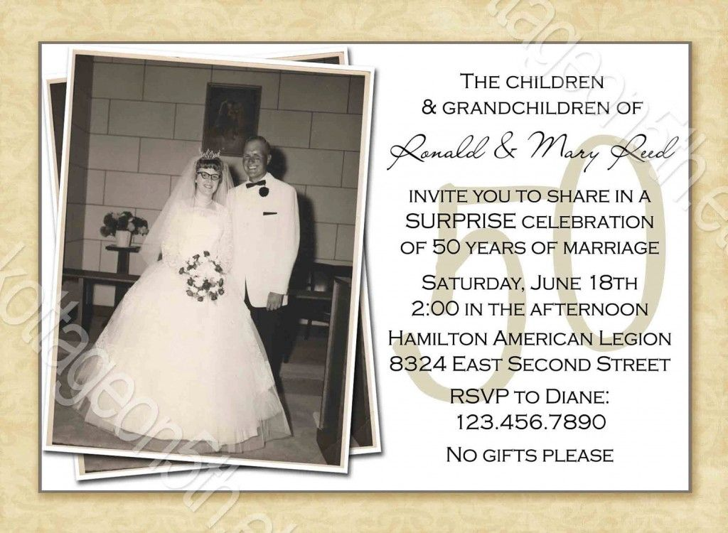 Golden Wedding Gift Ideas For Parents: 50th Wedding Anniversary Surprise Party Invitations