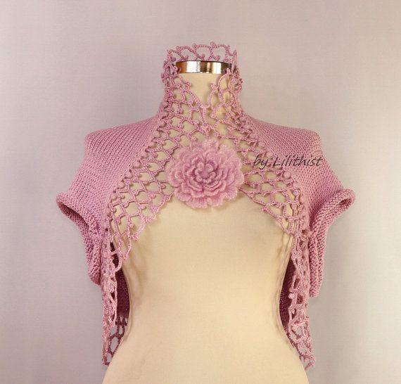 Pink Bridal Shrug, Wedding Bolero, Knit Shrug and Bolero, Crochet ...