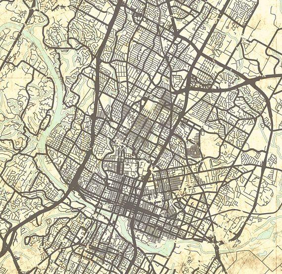 AUSTIN TX Canvas Print Texas TX Vintage map Austin tx City Map ... on