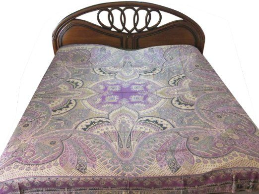 Amazon Com Pashmina Blanket Throw Purple Beige Kashmir Pashmina