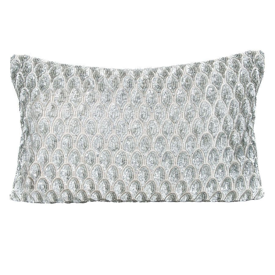 Pompano Silver Decorative Pillow @Zinc_Door #zincdoor #modern #glam #silver #sequin