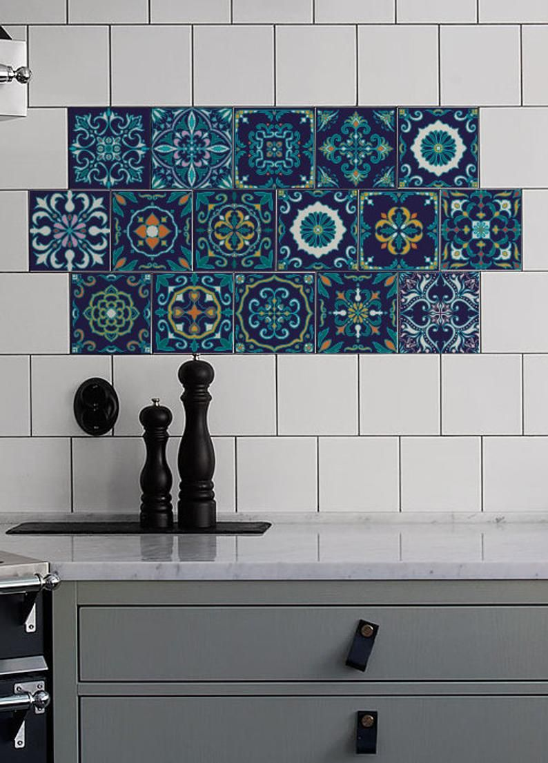Blue Azulejo Tile Stickers Pack Of 24 Removable Ornamental Etsy Tile Decals Decorative Tile Wall Decals