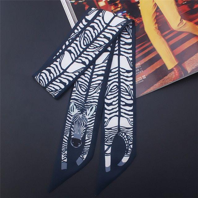 17 colors animal print bag skinny silk scarf foulard women tie head scarves ladies