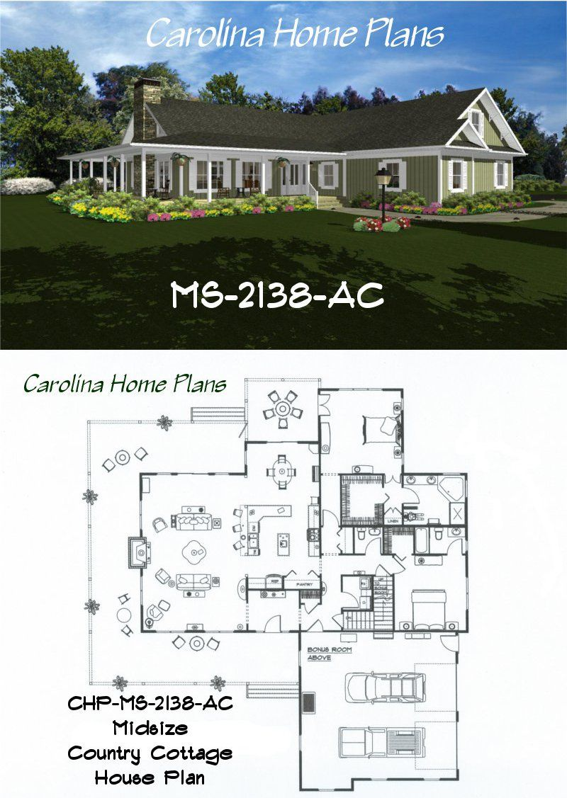 Midsize Country Cottage House Plan With Open Floor Plan Layout Country Cottage House Plans Cottage House Plans House Plans
