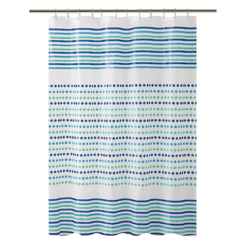 Bath Bliss Peva 70 In X 72 In Blue And Green Dot Stripe Design Shower Curtain 5383 Striped Shower Curtains Shower Curtain Fabric Shower Curtains