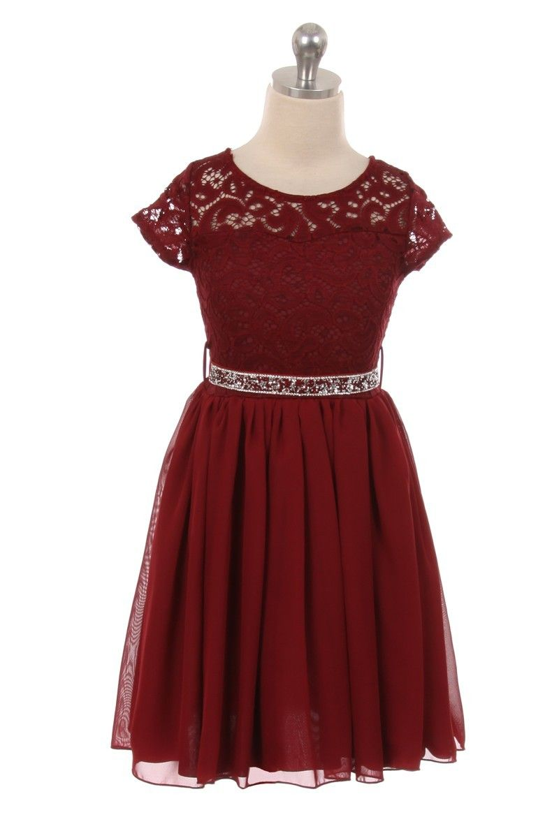 Burgundy Lovely Floral Lace and Chiffon Skirt Flower Girl Dress ...