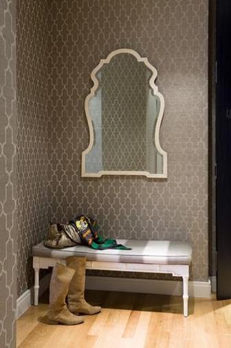 Back hallway Wall coverings, Light oak floors, Grasscloth