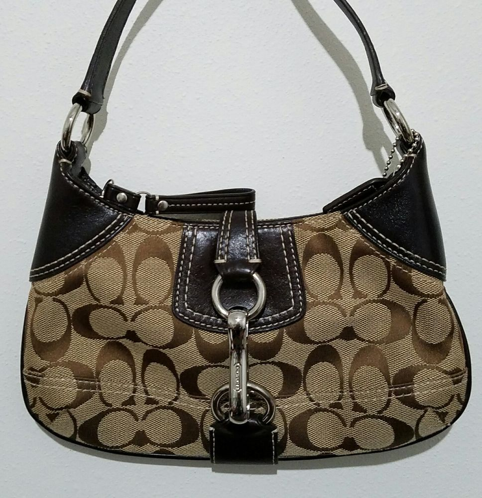 e73c04296c28 COACH WOMENS BROWN MONOGRAM SIGNATURE SMALL HANDBAG PURSE 10283 PREOWNED   Coach  Baguette  Ebay  Thrift  Ebayseller  Ebaystore  Handbags  Purses