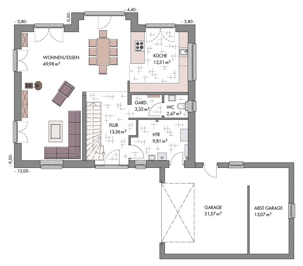 Grundriss vom erdgeschoss eines gem tlichen for Haus grundriss mit garage
