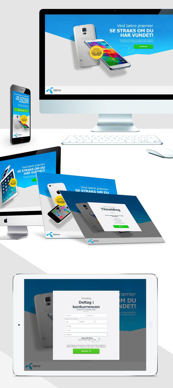 Telenor Online Kampagne. Responsive landingpage. Instant win campaign. Design og opsætning