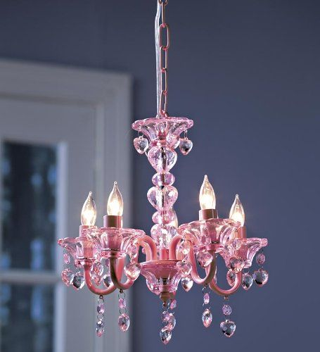 "Girls Pink Crystal Chandelier | HearthSong ""Crystal"" Hearts Chandelier for Kids' Rooms, in Pink"