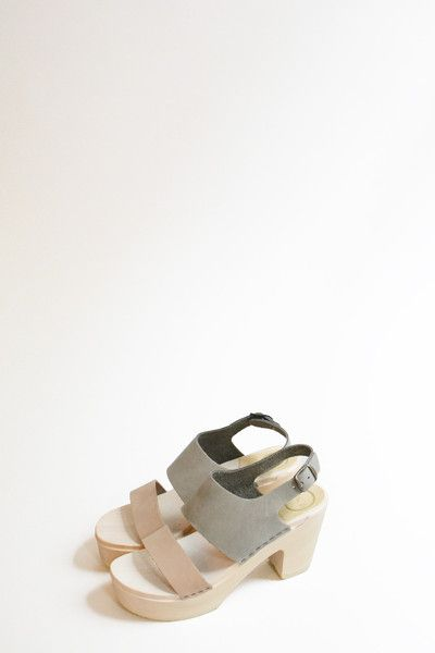 Harper Clog on Platform in Cement and Mocha with White Base