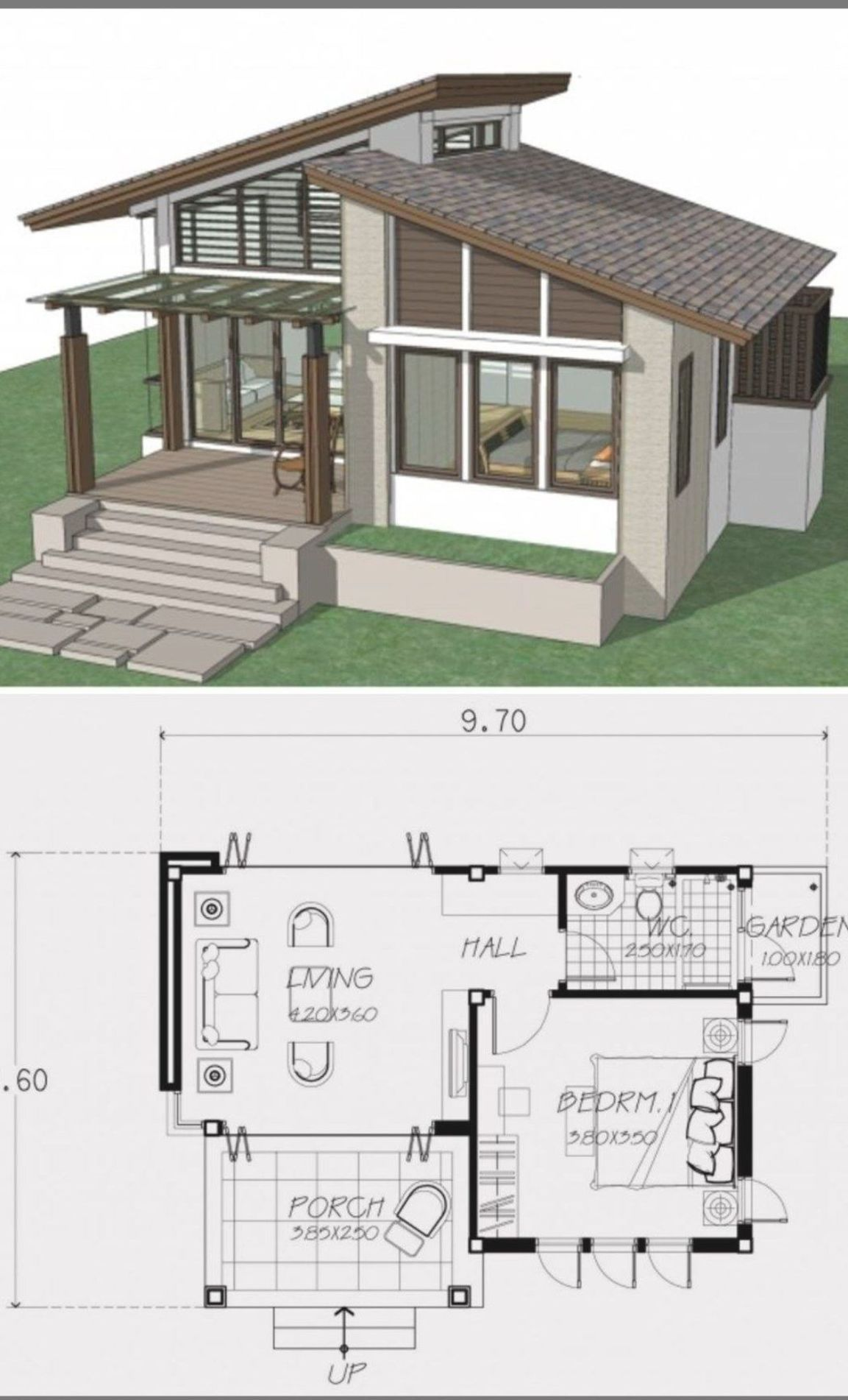 Small Home Design Plan 9x6 6m With One Bedroom Home Design With Plansearch Small House Design Small House Plans Home Design Plan