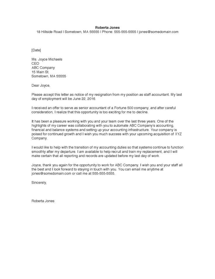 Resignation Letter Sample Retirement Pinterest Resignation - free example of resignation letter