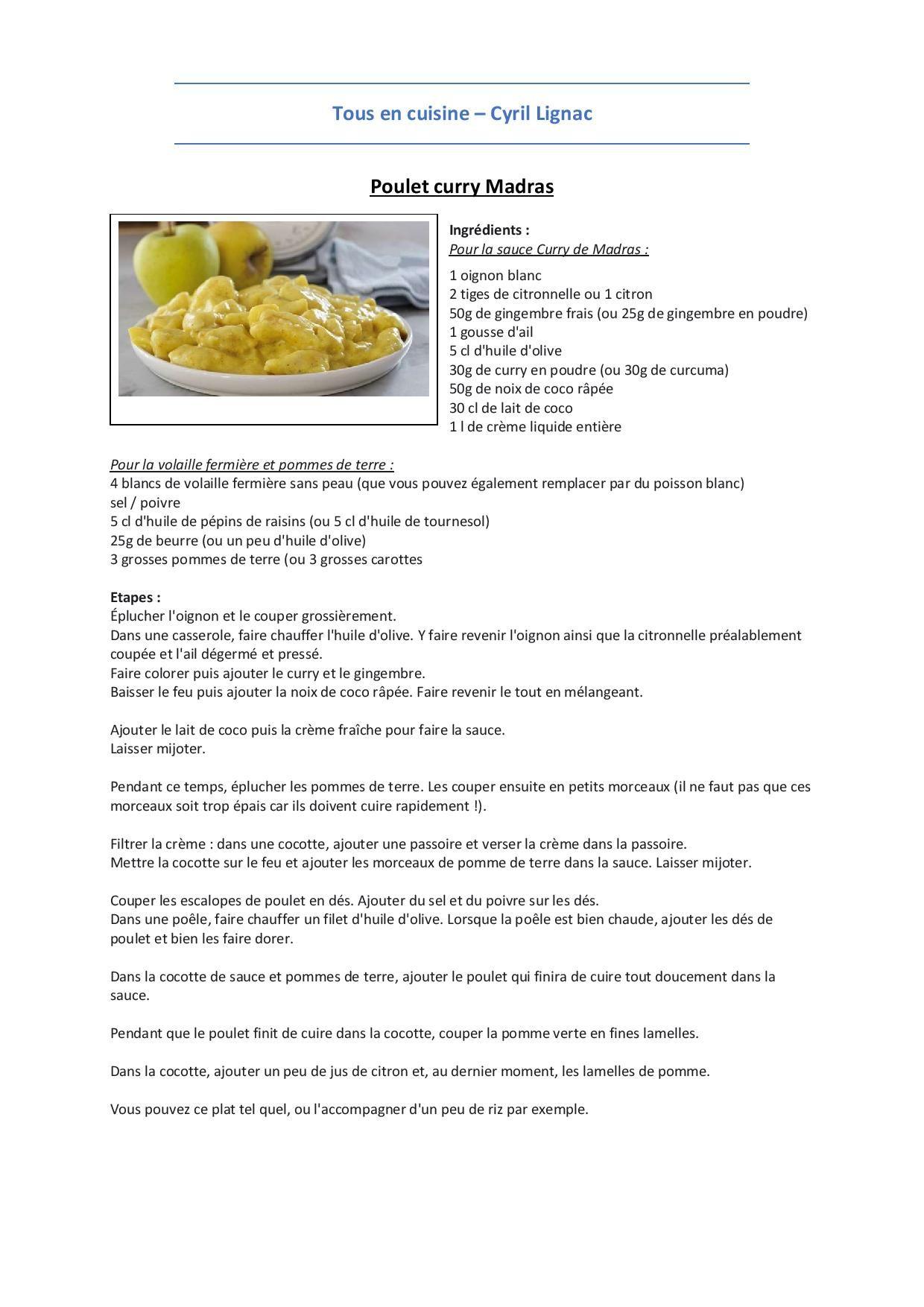 Plat   Poulet curry Madras   Recettes de cuisine, Recette cyril ...