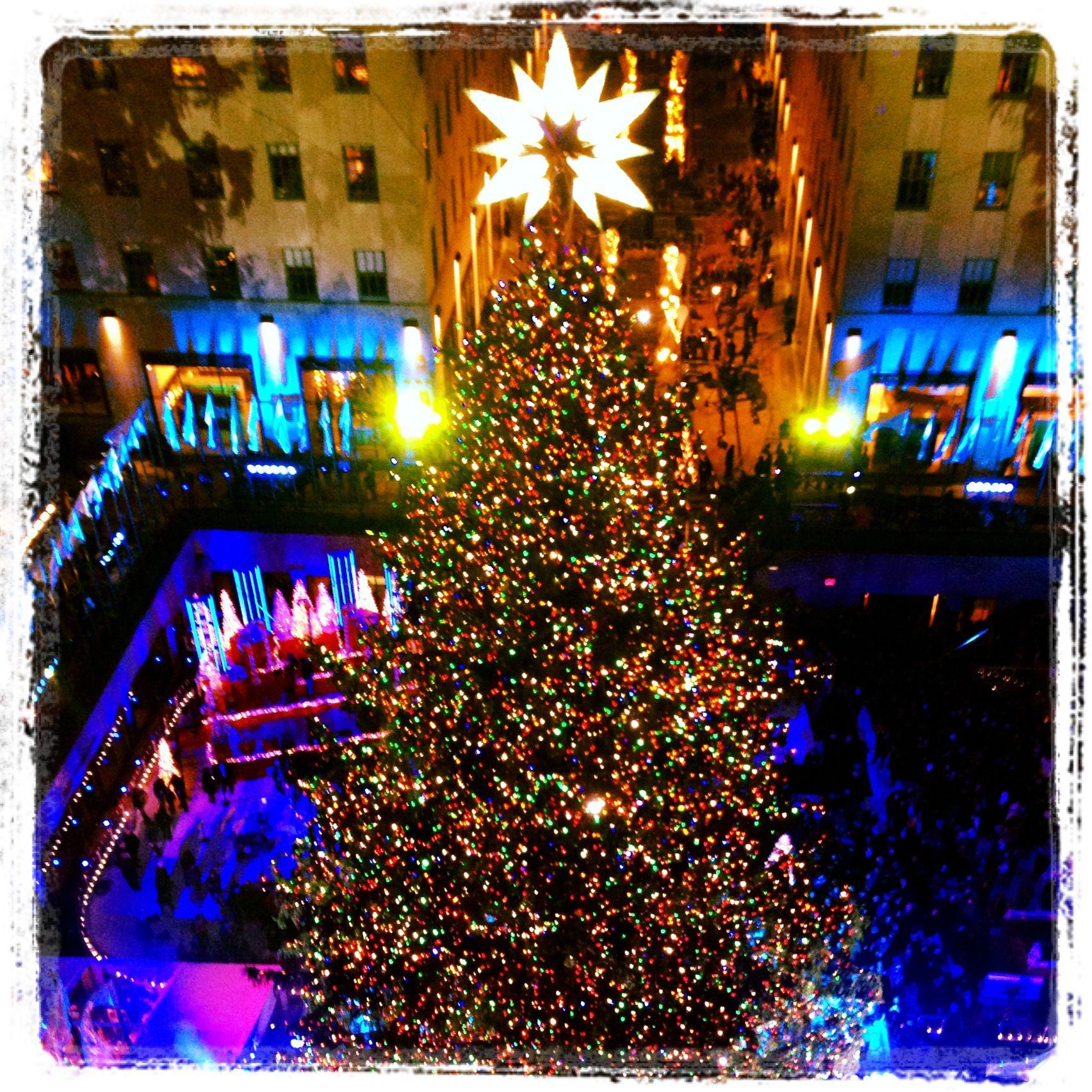 Rockefeller Center Christmas tree lighting! Love working at NBC