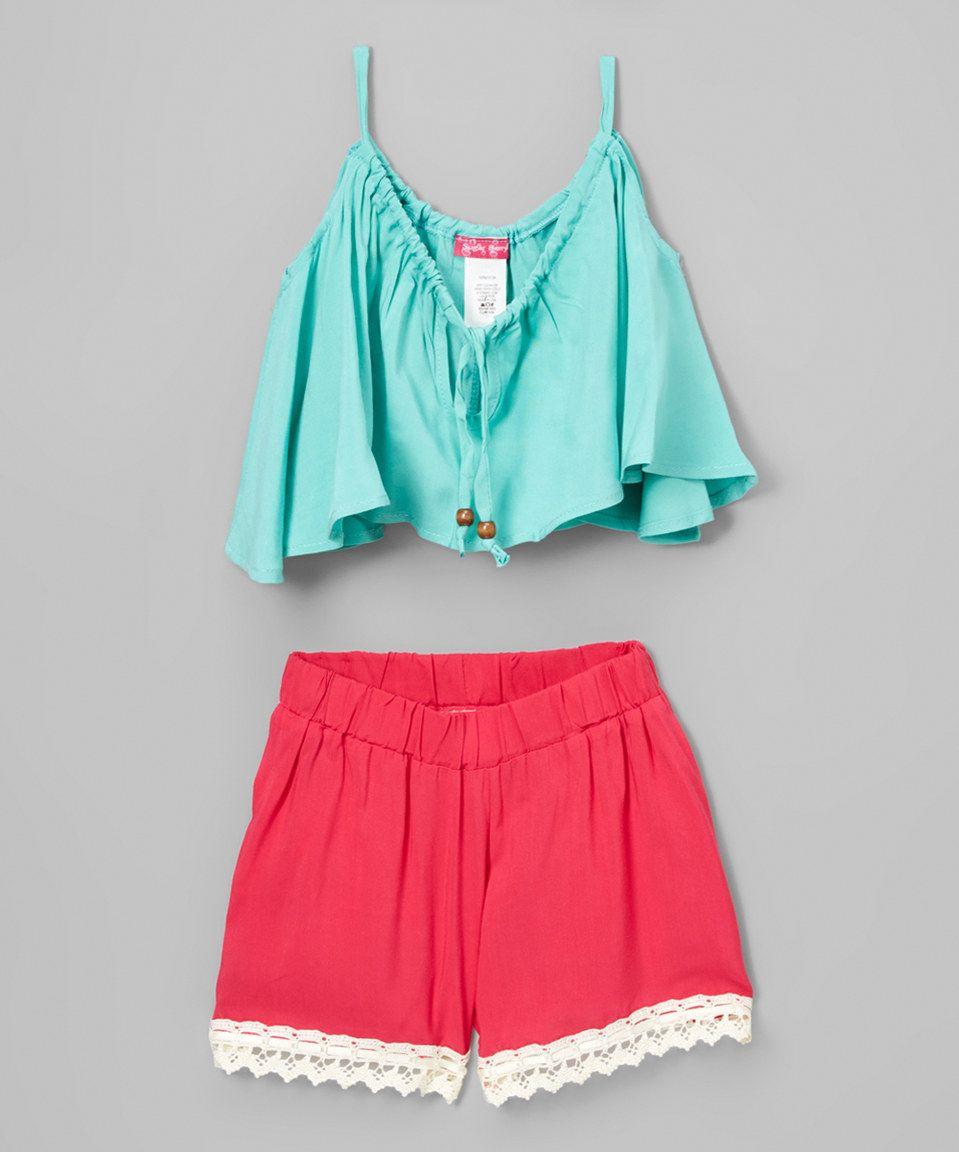 384b61d87d641 Love this Mint Swing Crop Top   Fuchsia Trim Shorts - Girls by Sugar Berry  on  zulily!  zulilyfinds