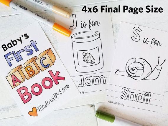 Abc Book Baby Shower Activity Personalized Alphabet Coloring Book Baby Shower Activity Keepsake Pdf Download 4x6 With Images Baby Shower Activities