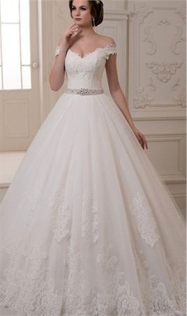 Vestido De Noiva 2016 Elegant Off The Shoulder Vintage Lace Wedding Dress  Ball Gown Tulle Wedding Gowns Court Train High Quality fbf45ac2c543