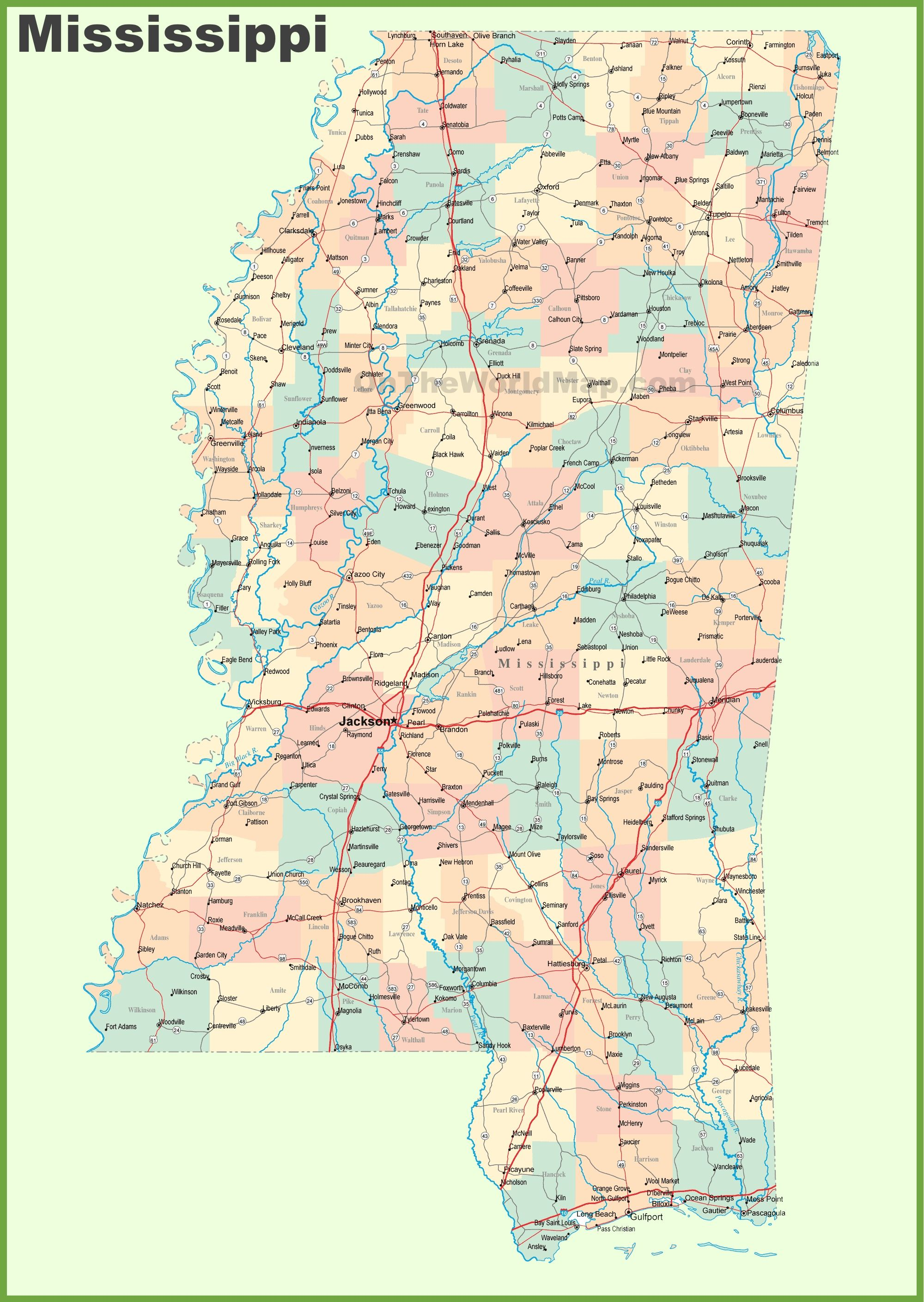 Road map of Mississippi with cities | State Maps | Printable ...