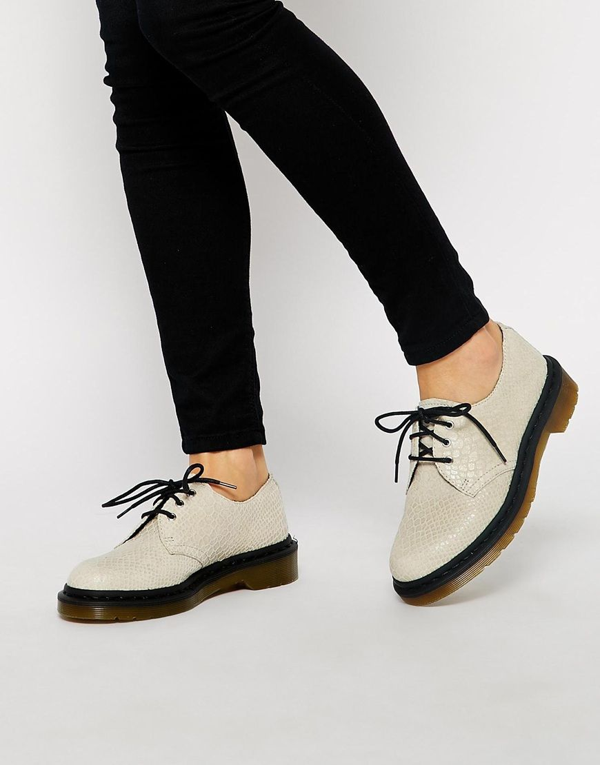 Dr Martens Core 1461 Tahan White 3-Eye Flat Shoes