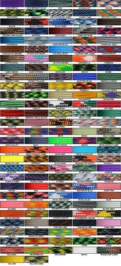 Paracord Color Chart Inexpensive Source At Gorillaparacord Com Paracord Paracord Bracelets Paracord Diy