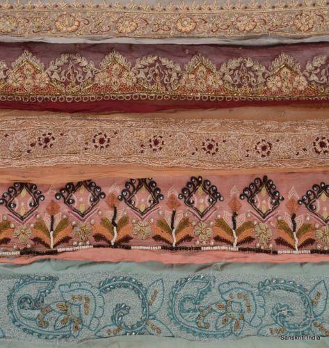 Antique Vintage Lot 5 Yard Hand Beaded ZARI Sari Border Craft Trims Lace Multi | eBay