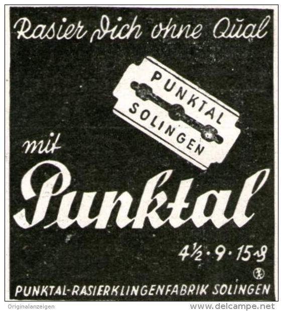 Original-Werbung/ Anzeige 1941 - PUNKTAL RASIERKLINGEN - - ca. 45 x 45 mm