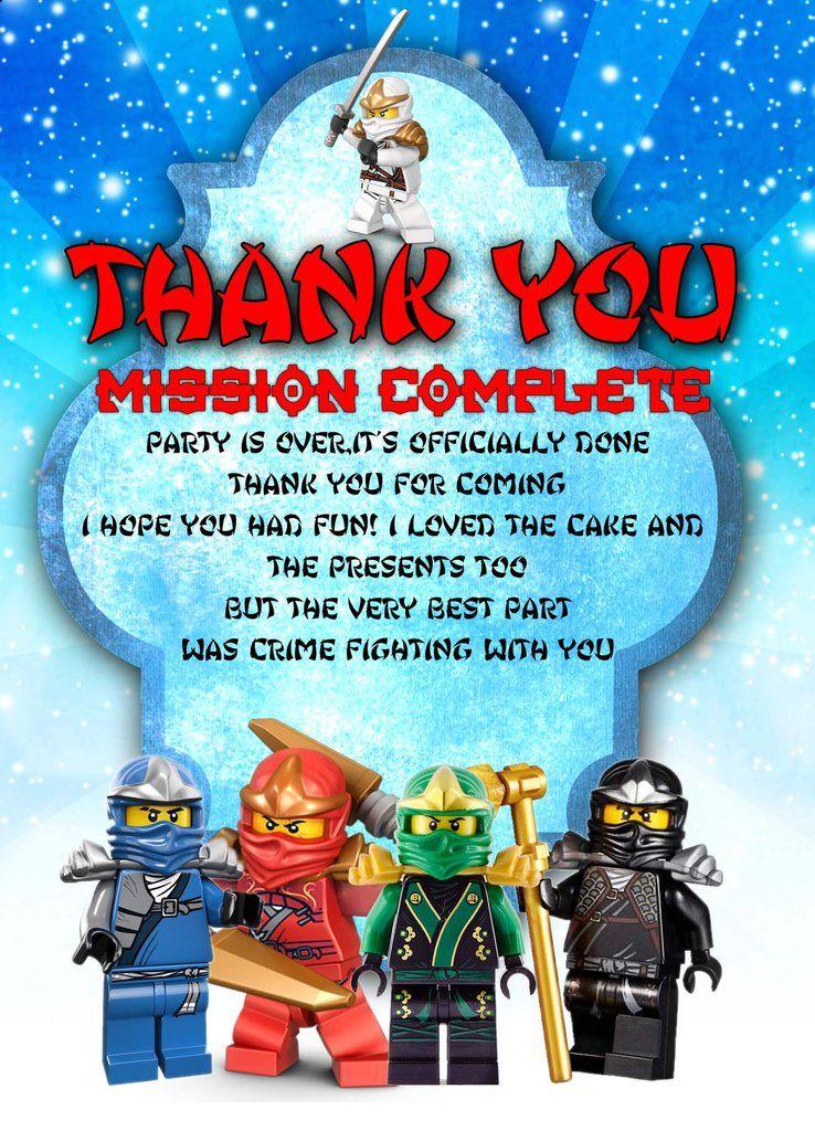 Personalised Lego Ninjago Birthday Party Thank You Card Envelopes Lego Ninjago Birthday Ninjago Birthday Party Ninjago Birthday