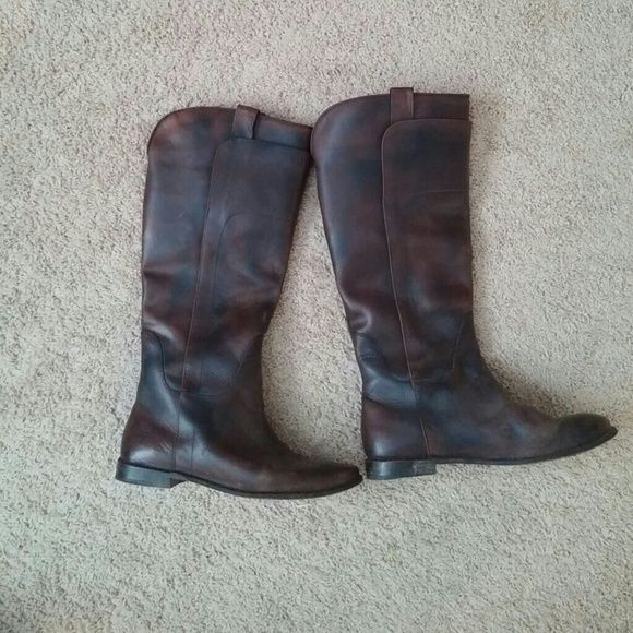 Frye Paige Riding Boots I'm not 100% sure on the color name but i think it is brush off dark brown. These were worn through one winter. They do have a weathered look. I think they run a little large and work best with very thick socks. They come up nice and high for a tall person. Frye Shoes Heeled Boots