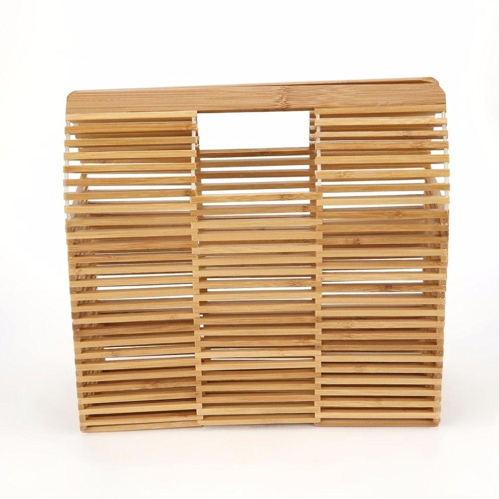 36581e219 2018 Luxury Designer Beach Bag Fashion Bamboo Bag Women Travel Straw Tote  Clutch Trunk Ladies Woven