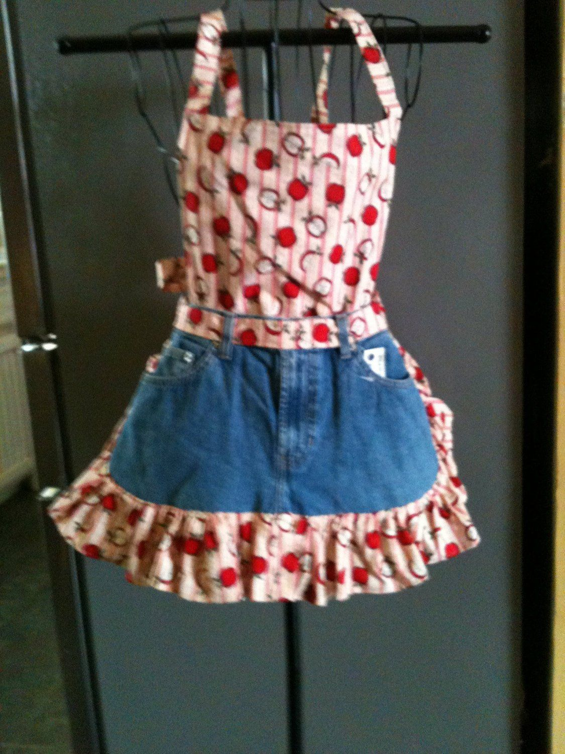 Red Apple Blue Jean Apron Sewing Jean Apron Cute
