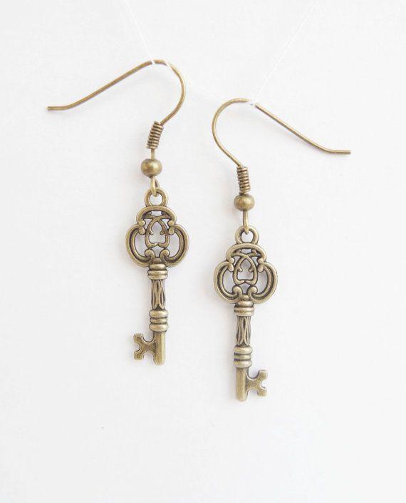 Bronze Key Earrings Skeleton Key Jewelry by NewJewelleryStory