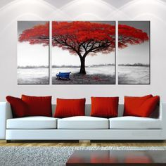 hand painted the first snowflakes 3 piece gallery wrapped canvas