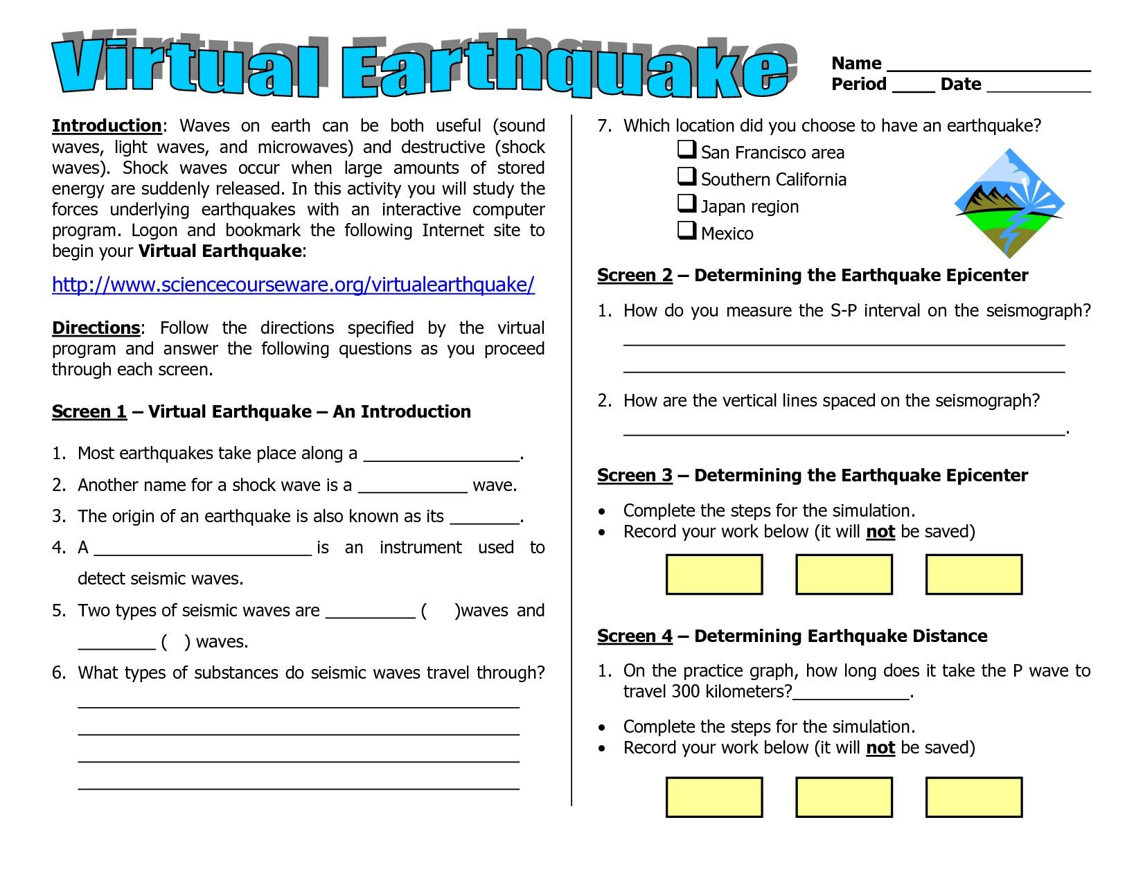 Worksheets On Earthquakes