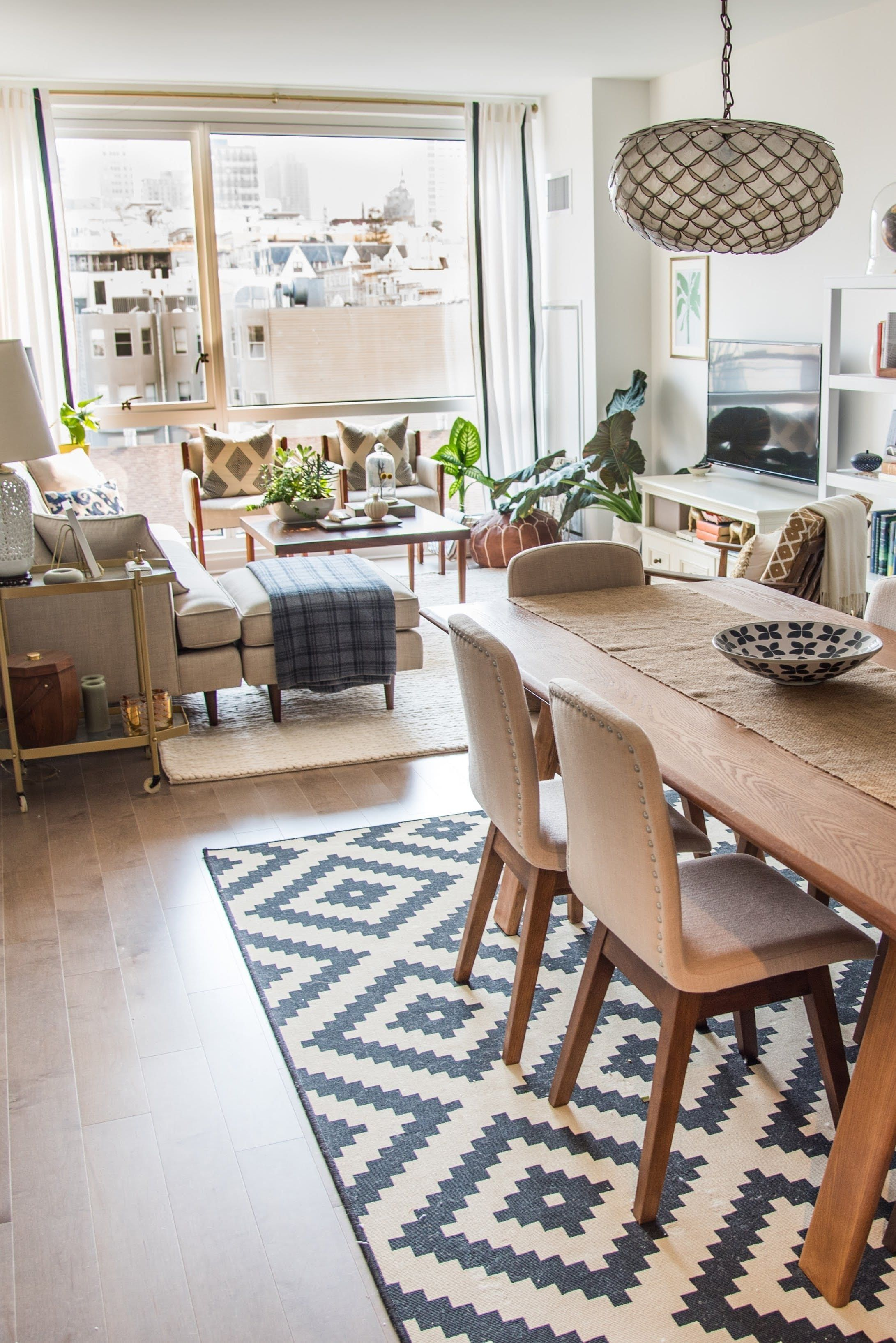 Small Living Room With Dining Table Ideas Traditional Curtains House Tour A Sophisticated Mixed Matched Rental Dreams Jeni S Apartment Rooms Rugs