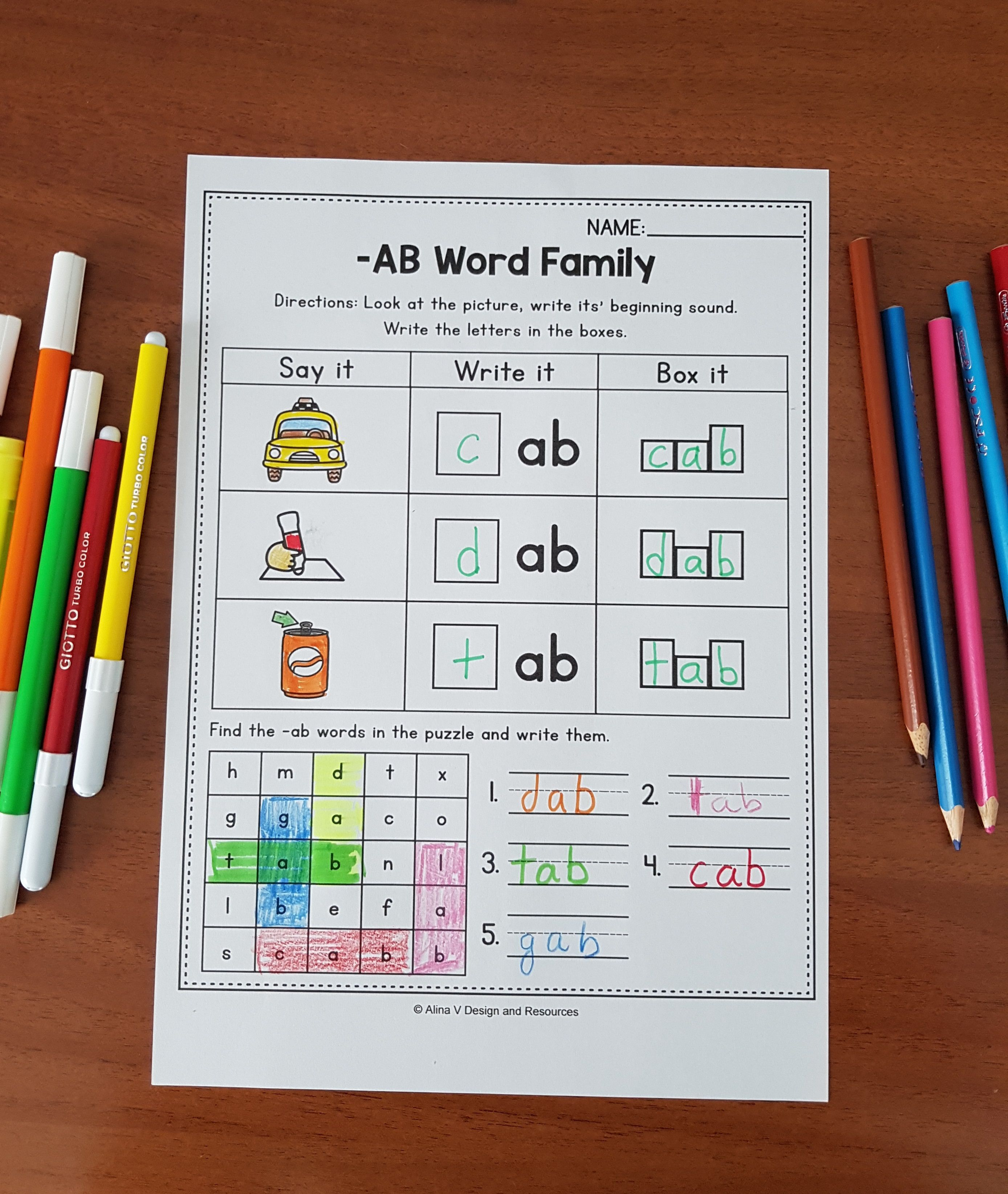 Word Family Worksheets Distance Learning Packets For