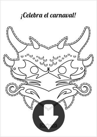 Máscara de Carnaval Dragón para imprimir y colorear | Máscaras de ...