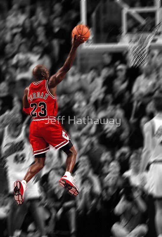 cheap for discount 76be2 a4791 Michael Jordan flying toward the hoop