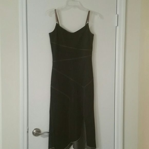 Denim spandex strapped dress Denim spandex......strapped dress with side slit....very fitted ....looks beautiful on silvergate Dresses
