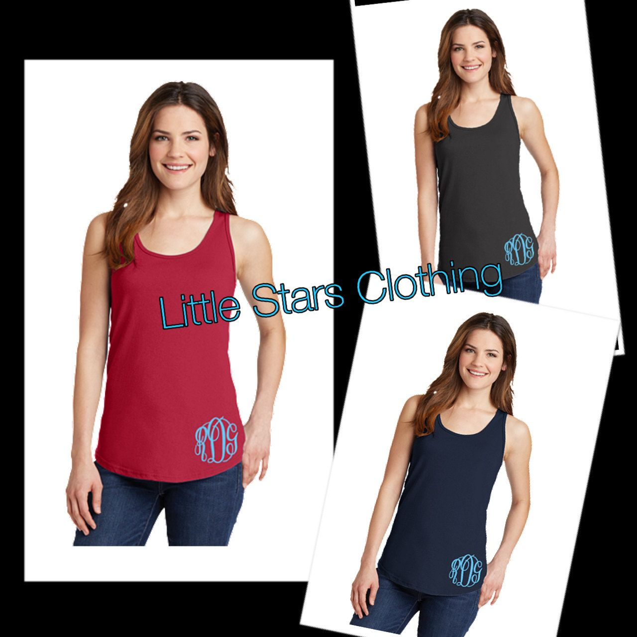 Monogrammed Tank-Available in sizes XSmall-XXLarge by littlestarsclothing on Etsy
