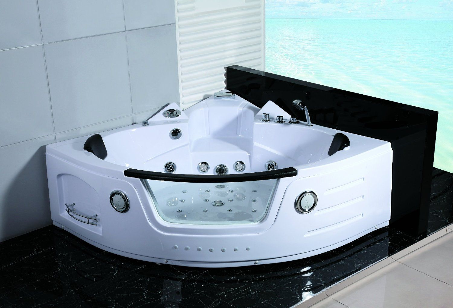 2 Person Hydrotherapy Computerized Massage Indoor Whirlpool Jetted Bathtub Hot Tub 050a White Jetted Bath Tubs Whirlpool Bathtub Jacuzzi Hot Tub