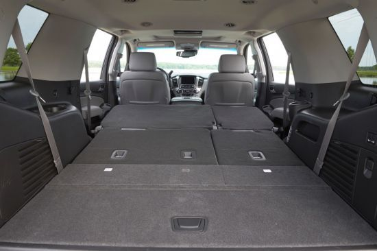 2015 chevrolet tahoe interior look at all the space with the rear seats down in the 2015 chevy. Black Bedroom Furniture Sets. Home Design Ideas