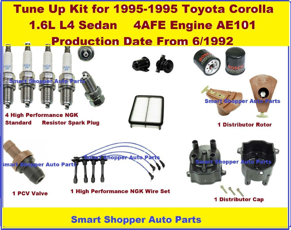 Tune Up 93 95 Corolla 16l 4afe Spark Plug Wire Dist Cap Rotor Galant Fuel Filter Engine Filters Ngkjapanmadeyec