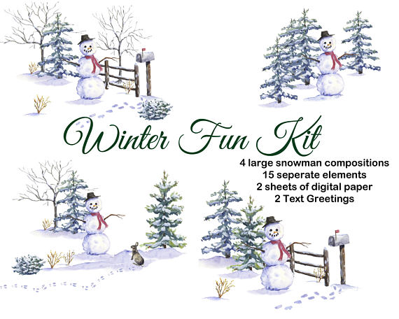 Snow watercolor. Christmas clipart hand painted