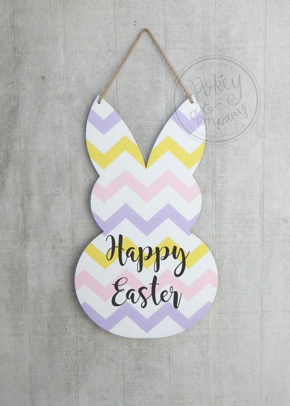 Easter Bunny Door Hanger READY TO SHIP by PokeyandCo on Etsy