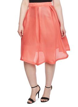 6cc03ad9c6 Plus Size Pleated Midi Skirt with Mesh Overlay,CORAL | You've got ...